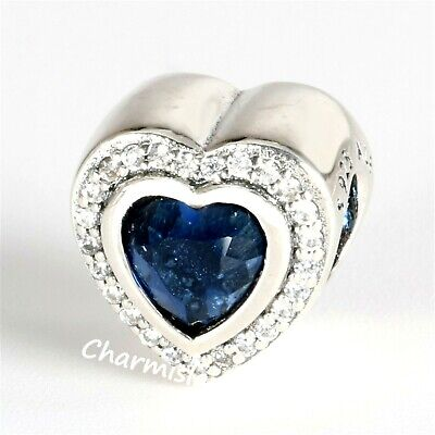 Authentic Pandora Silver Royal Blue Sparkling Love Charm 797608