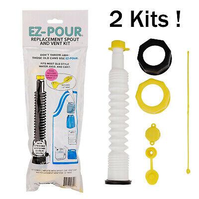 2 Packs Ez-pour Gas Can Spout Replacement Fuel Nozzle Vent Kit For Old Water Jug