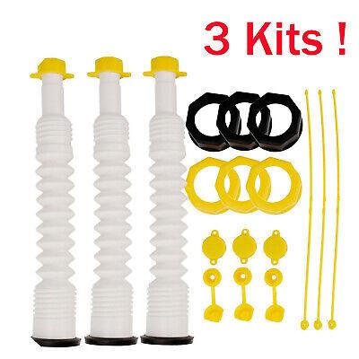 3 Packs Ez-pour Gas Can Spout Replacement Fuel Nozzle Vent Kit For Old Water Jug