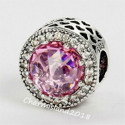 New Authentic Pandora Silver  Clear Pink  Radiant Hearts Clear CZ Charm 791725