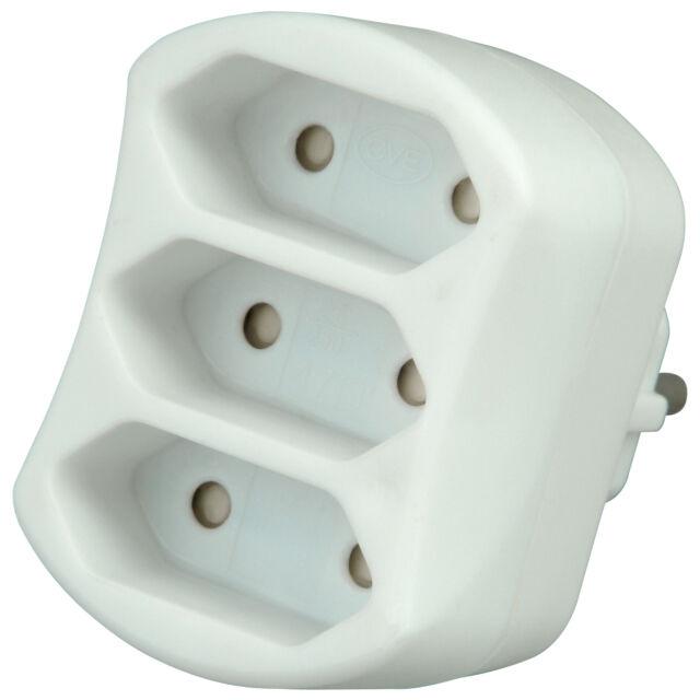 Kopp 3-fach Euro Adapter Anschluss arktis-weiß Stecker Steckdosen Adapter Leiste