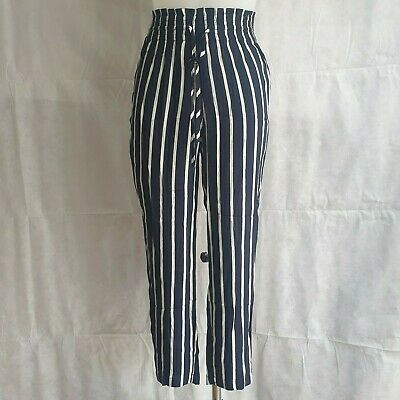 New Abercrombie & Fitch Trousers XS UK 6-8 Navy Blue Striped Elasticated...