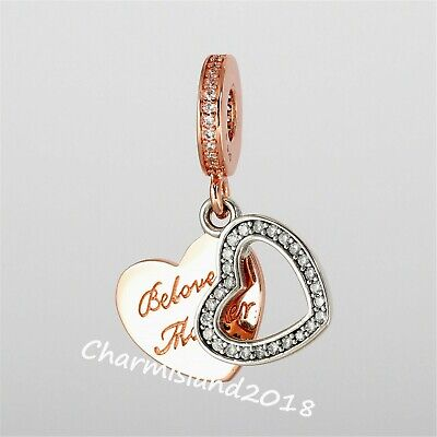 Authentic Pandora Silver 781883CZ Beloved Mother Dangle Charm Rose Collection