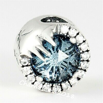Authentic Pandora Silver Disney Ice Blue Frozen Winter Crystal Charm 798458