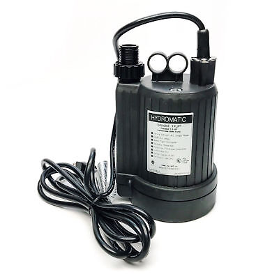 Hydromatic HUP 1/6HP Portable Submersible Utility Pump, 115V 60Hz, 20GPM
