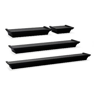 Wall Mount Shelf Set Of 4 Floating Display Home Decor Black Shelves Furniture