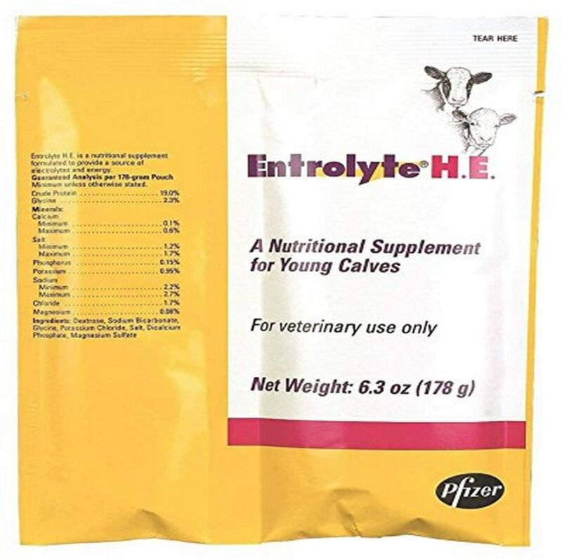 RS ANIMAL HEALTH 8152 Electrolyte H.E. Packets for Young Calves, 178g