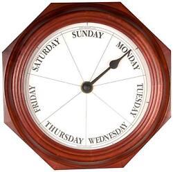 DayClocks Classic Day of The Week Fun Retirement Gift – Mahogany Wall Clock, 9