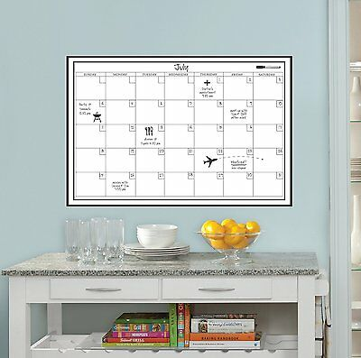 Wall White Board Calendar Planner Peel Stick Dry Erase Marker Monthly Office 24