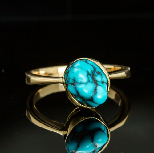 Vintage 14K Yellow Gold Turquoise Ring Russian Hallmarked