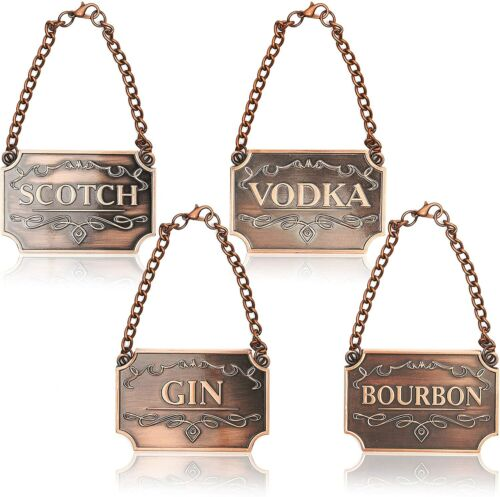 SET of 4 ~ Gorgeous Liquor Decanter Tag Label STUNNING Copper w Adjustable Chain