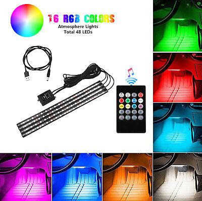 4PCS 48 LED Car Interior USB Atmosphere Lights Strip Wireless IR Remote Control
