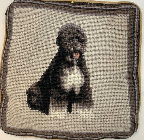 "Portuguese Water Dog Needlepoint Pillowcase Velveteen Back w/Zipper CUTE 10"""