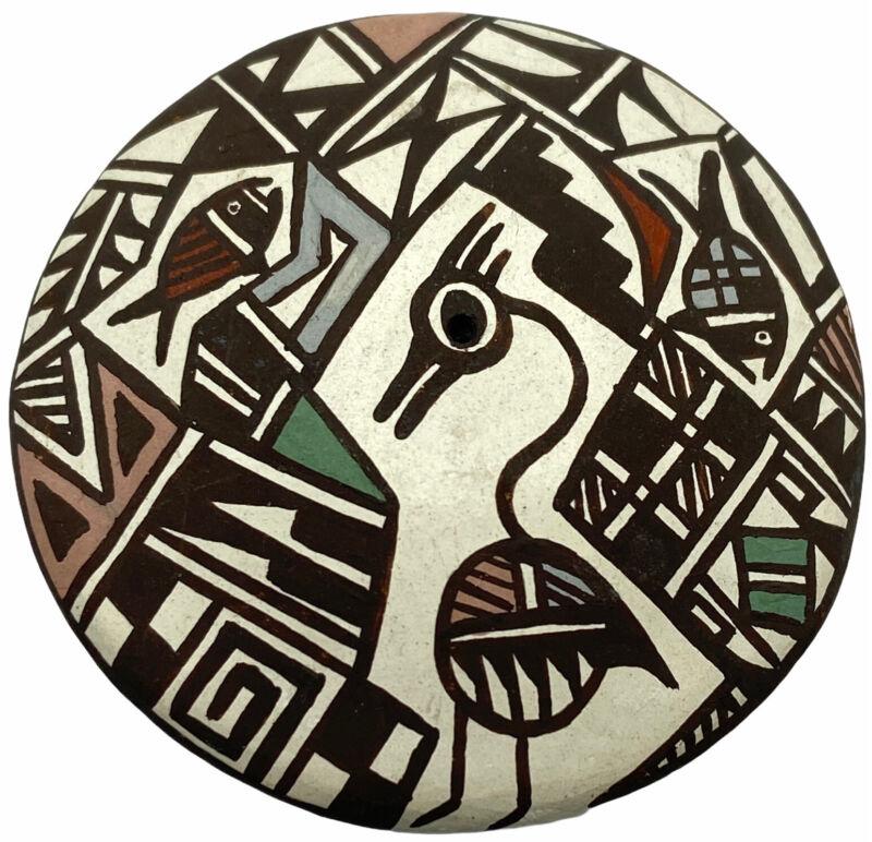 "ACOMA PUEBLO Pottery SEED POT Roadrunner Bird Signed ""Aggie"" Christine Henderson"
