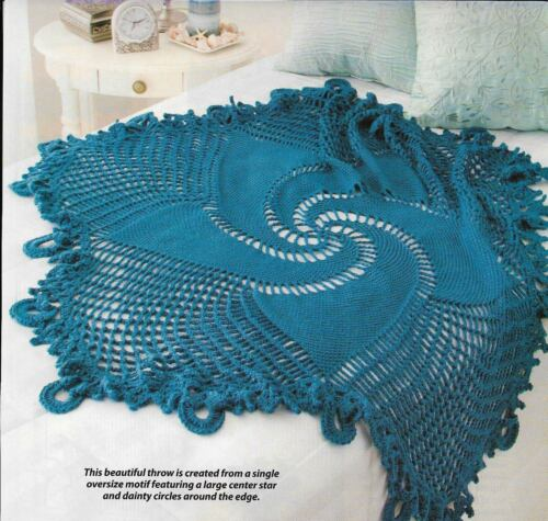 BLUE MANDALA ROUND AFGHAN CROCHET PATTERN INSTRUCTIONS