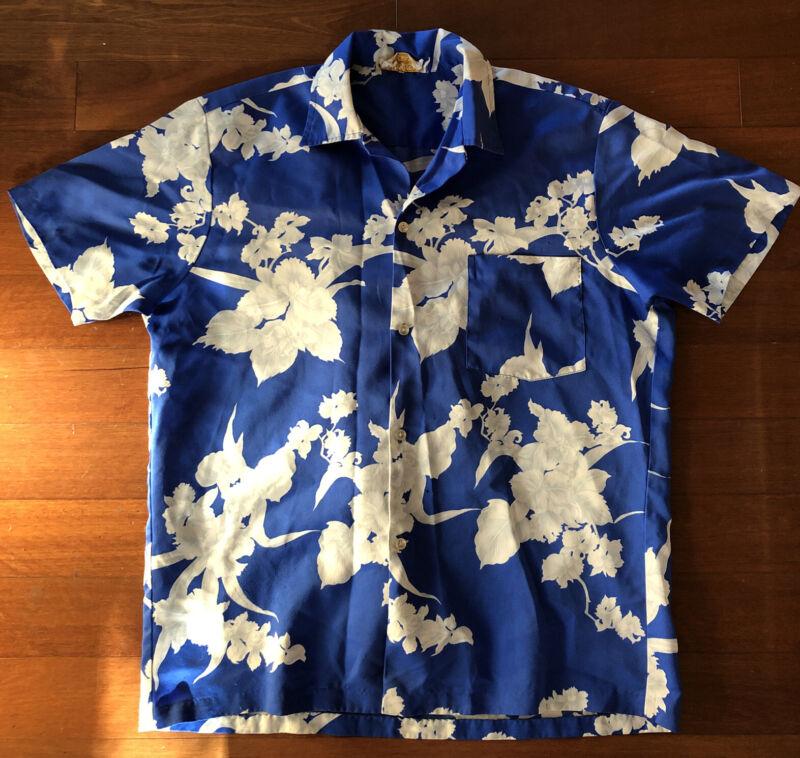 KIMO'S POLYNESIAN SHOP Vontage Blue White Hawaiian Shirt