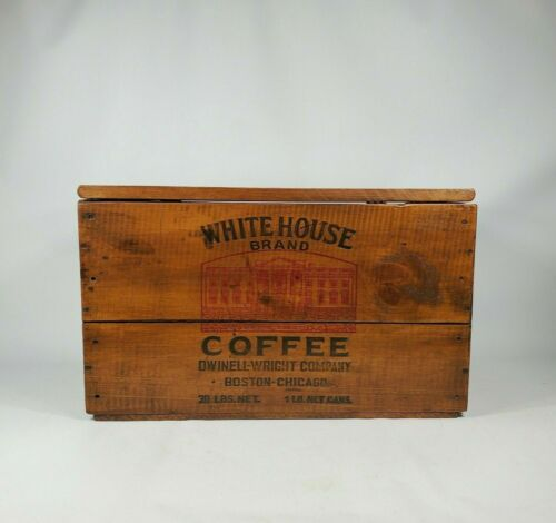 Vintage Antique White House Coffee Wood Crate Box Dwinell-Wright Co Hinged Lid