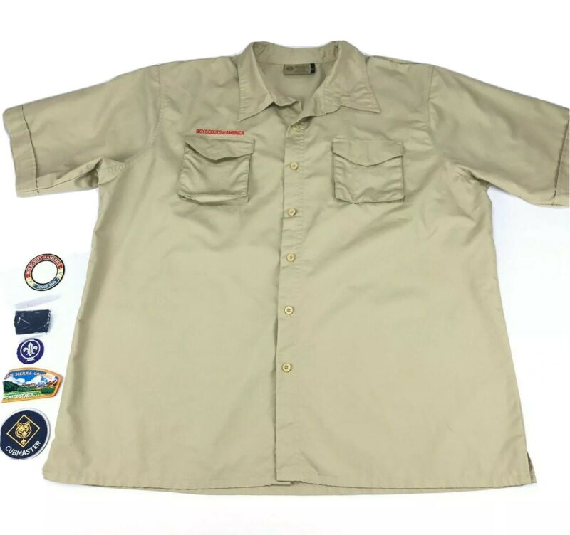 Boy Scouts of America BSA Mens Size XL Polyester Vented Uniform Shirt Patches
