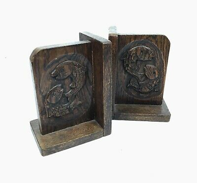 Antique Arts & Crafts Oak Wooden Bookends / Carved Fish Design / Book Display