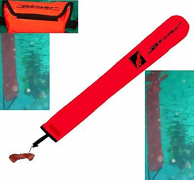 SCUBA delayed surface marker buoy + line&pouch dSMB weighted 2B upright @surface