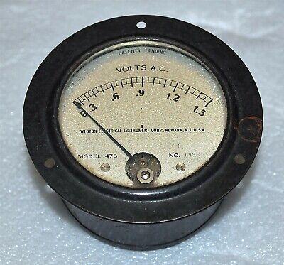 Weston Electrical Model 476 Panel Meter Ac Volts 0-1.5 Volt Vintage