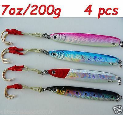 JohnnyJigs 200g Slow Fall Butterfly Flat Pitch Vertical Saltwater Striped//Glow