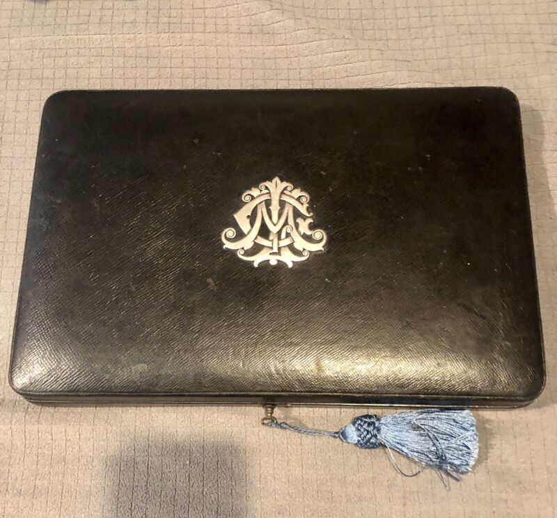 Antique Gustave Keller Jewelry Document Travel Case Box Leather Sterling Silver