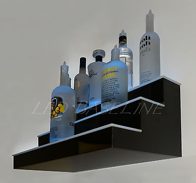 24 3 Step Wall-mount Led Lighted Bar Shelf Homebar Liquor Bottle Display Rack