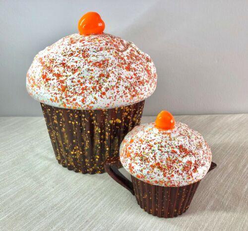 Set of Gigant Large Ceramic Cupcake Shaped Cookie Jar and Creamer Sprinkles Top