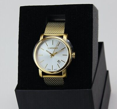 NEW AUTHENTIC WENGER URBAN SWISS ARMY GOLD SILVER MESH 01.1041.120 MEN'S WATCH