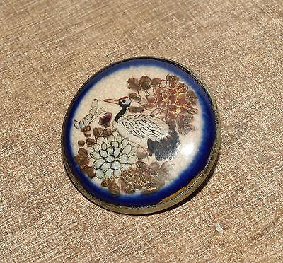 Antique Vtg Japanese Satsuma Pin Brooch Crane & Floral Motif