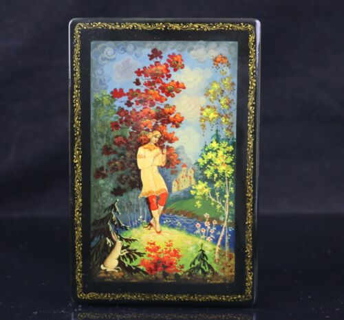 """Palekh Russian Hand-Painted Lacquer Box  ~ Signed, 6 1/8"""" x 4"""" x 1 7/8"""""""