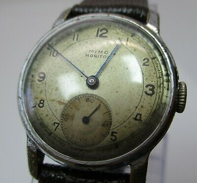 MIMO  MONITOR Men's Military Wrist Watch   Vintage  early 1930s  needs cleaning