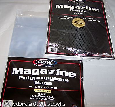 """100 Each BCW 8 7/8"""" Thick Magazine Storage Bags Sleeves & Backer Boards"""