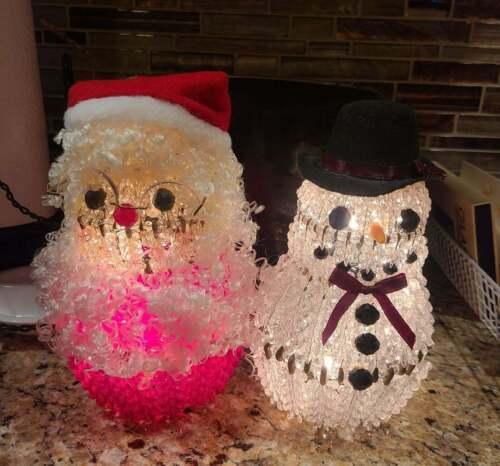 Beaded safety pin lighted santa snowman handmade vintage christmas figurine OOAK