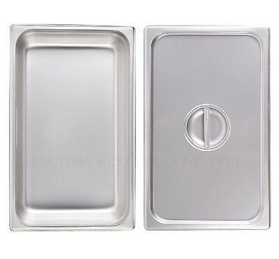 Full Size Steam Prep Table Food Pan W Cover Lid 4 Deep Stainless Steel Buffet