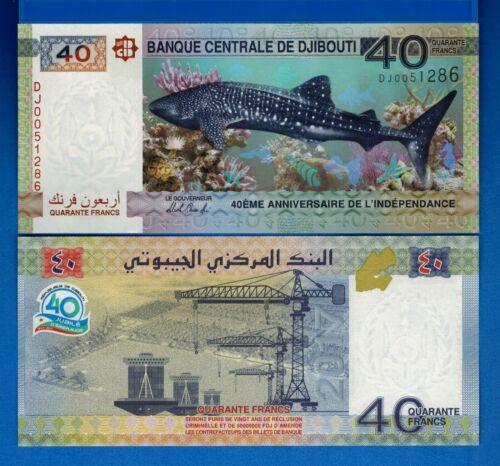 Djibouti P-46 40 Francs Shark Year 2017 Uncirculated Commemorative Banknote