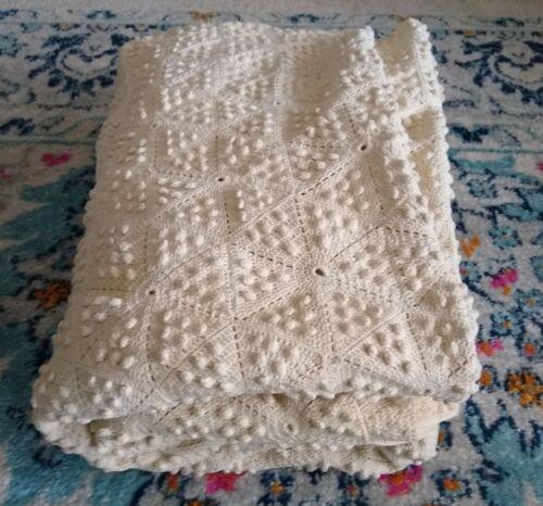"Vintage Full-size Crochet Popcorn Stitch Bedspread Blanket Ecru 72"" x 100"""