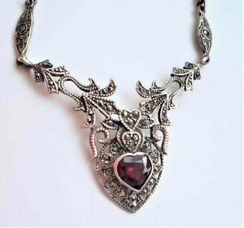 Vintage Necklace ~ Detailed Garnet & Marcasite Heart Pendant ~ Signed MR925~ 26g