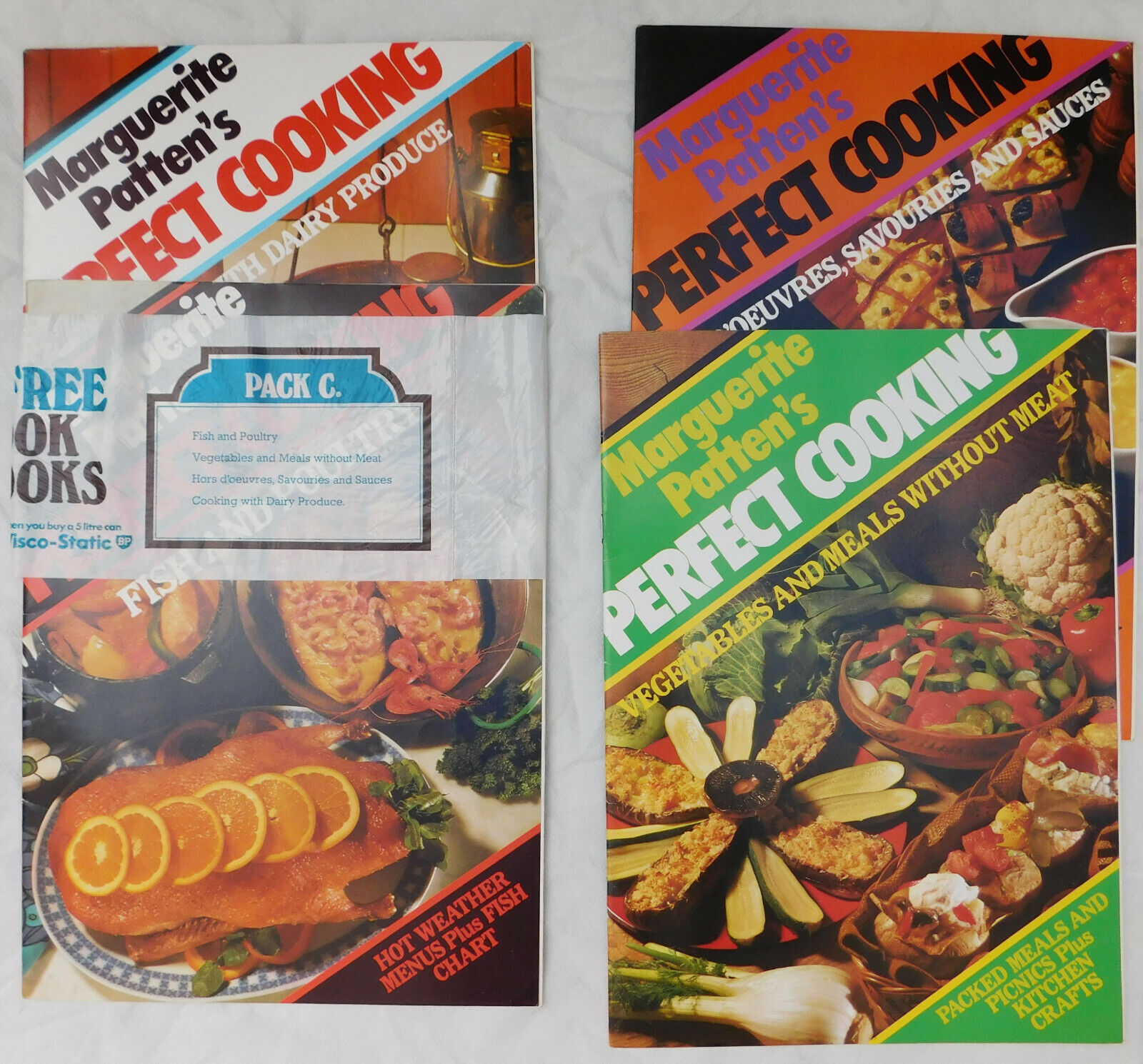 4 recipe books Marguerite Patten's Perfect Cooking Fish Poultry Vegetables Dairy