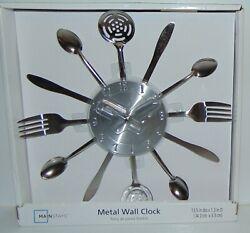 Mainstays Kitchen Metal Wall Clock Utensils 13.5 Diameter NEW