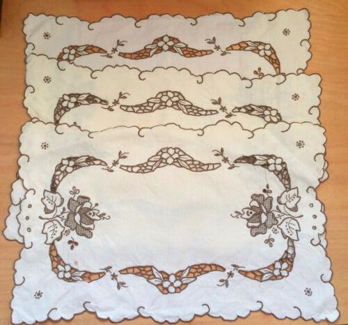 "Set of 3 Antique Madeira Work Embroidery Doillies Beige Linen 17"" X 11""Rectangle"