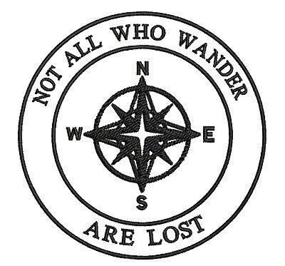 Not All Who Wander Compass Embroidered Patch Iron / Sew-On Souvenir Applique