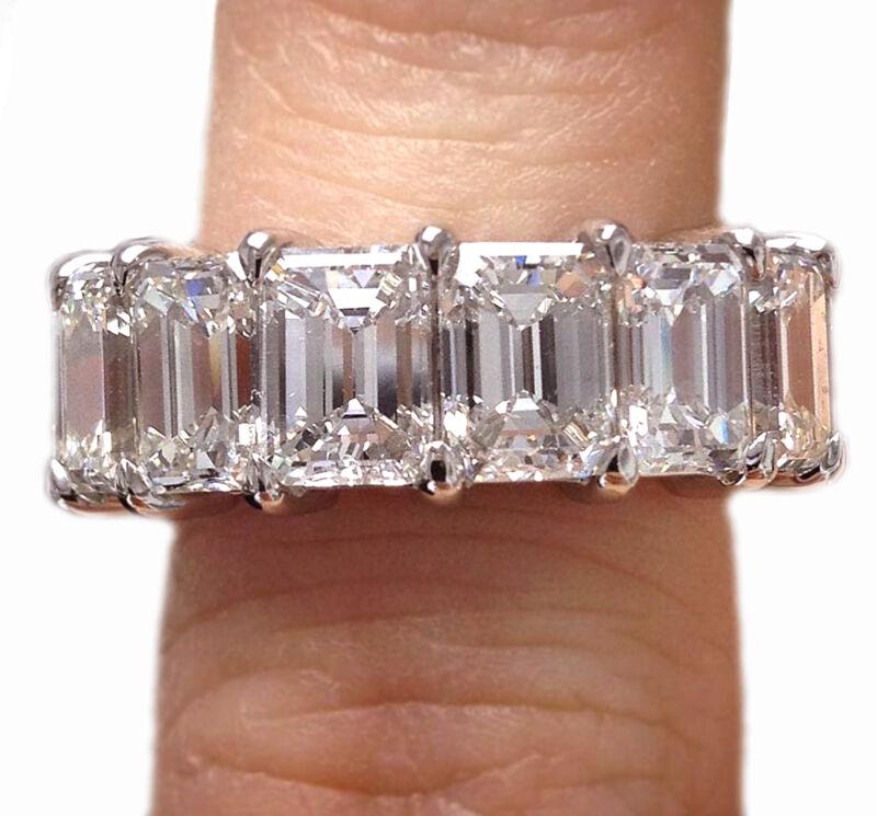 Gia Certified Emerald Cut Platinum Diamond Eternity Ring 12.00 Carat