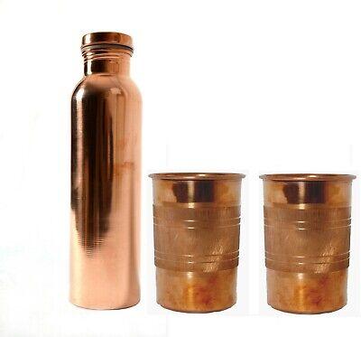Cobre 700 ML Liso Agua Botella & 2 Plata Toque Cristal Ayurveda...