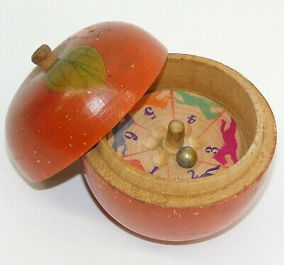 vtg Wood Toy Horse Racing Roulette Wheel Game Wooden Apple Box Case Japan NR!