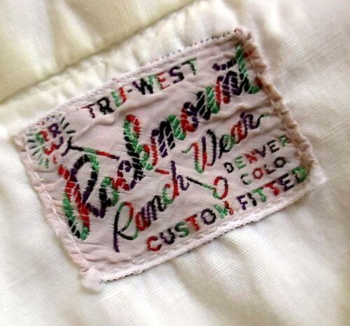 BOYS sz 12 TRUE VTG 1960s MEDIUM ROCKMOUNT DENVER WHITE SNAP WESTERN SHIRT USA