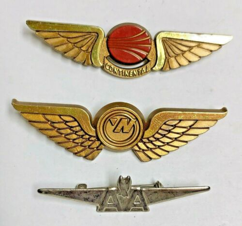 3 Vintage AIRLINES Pins - AMERICAN CONTINENTAL NORTHWEST