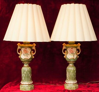 Pair Vintage Hollywood Regency Hand Painted Ceramic Electric Table Lamps