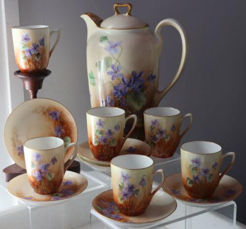 13pc Antique Saxony Chocolate set Pot cups saucers Handpainted & signed Violets